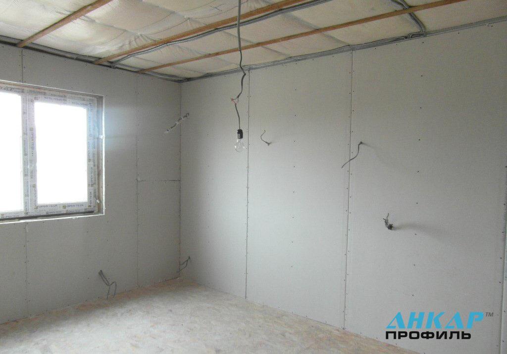 облицовка стены гипсокартоном в один слой